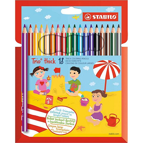 Набор утолщенных цветных карандашей Stabilo Trio, 18 цветовПисьменные принадлежности<br>Характеристики:<br><br>• утолщенные цветные карандаши;<br>• в комплекте 18 шт.;<br>• диаметр грифеля: 4 мм.;<br>• длина карандаша - 17,5 см.;<br>• форма наконечника: треугольник;<br>• предназначение - для бумаги;<br>• упаковка: пластиковая коробка;<br>• размер упаковки: 21,5х18х1 см;<br>• вес: 150 г.;<br>• бренд, страна: STABILO, Германия.<br><br>Детская серия утолщенных трехгранных цветных карандашей Stabilo Trio. Трехгранная форма карандаша предотвращает усталость детской руки при рисовании и позволяет привить ребенку навык правильно держать пишущий инструмент. Подходят для правшей и для левшей. Утолщенный грифель, особо устойчивый к поломкам. В состав грифелей входит пчелиный воск, благодаря чему карандаши легко рисуют на бумаге, не царапая ее и не крошась.<br><br>Набор цветных карандашей - отличный помощник для развития творческих способностей, мелкой моторики, фантазии, усидчивости и других полезных навыков у детей. Также подойдет для подготовки различных презентаций в детский сад и школу.<br><br>Набор утолщенных трехгранных цветных карандашей  STABILO  Trio, 18 цветов, можно купить в нашем интернет-магазине.<br>Ширина мм: 10; Глубина мм: 200; Высота мм: 175; Вес г: 146; Цвет: разноцветный; Возраст от месяцев: 36; Возраст до месяцев: 2147483647; Пол: Унисекс; Возраст: Детский; SKU: 8058283;