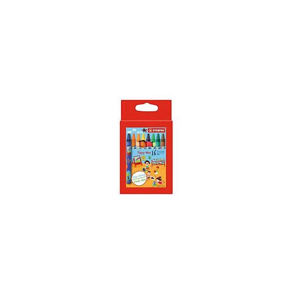 Набор восковых мелков Stabilo, 16 цветовПисьменные принадлежности<br>Характеристики:<br><br>• мелки восковые;<br>• в комплекте 16 цветных мелков;<br>• наконечник - круглый;<br>• диаметр - 10 мм;<br>• длина мелка: 9,3 см.;<br>• предназначение - для рисования и творчества;<br>• упаковка: картонный футляр с европодвесом;<br>• размер упаковки: 15х7х2,5 см;<br>• вес: 70 г.;<br>• бренд, страна: STABILO, Германия.<br><br>Набор восковых мелков STABILO включает в себя 16 цветных восковых мелков. Отличаются необыкновенной яркостью и стойкостью цвета, легко смешиваются, создавая огромное количество оттенков. Очень прочные, не крошатся, не ломаются, не образуют пыли, не нуждаются в затачивании. Каждый мелок в индивидуальной упаковке.  Форма мелков круглая, диаметр 10мм.<br><br>Очень мягкие и легкие мелки позволят даже самому маленькому кроже провести яркую линию без особых усилий. Отличный набор для развития творчества и мелкой моторики.<br><br>Набор восковых мелков STABILO, 16 цветов, можно купить в нашем интернет-магазине.<br>Ширина мм: 150; Глубина мм: 70; Высота мм: 25; Вес г: 72; Цвет: разноцветный; Возраст от месяцев: 36; Возраст до месяцев: 2147483647; Пол: Унисекс; Возраст: Детский; SKU: 8058287;