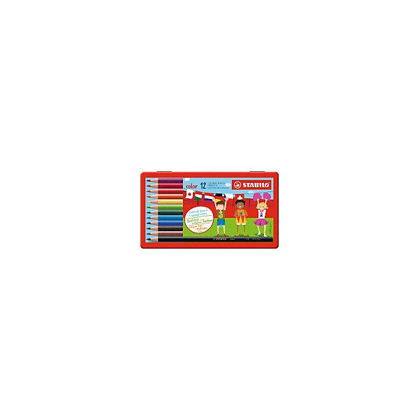 Купить Набор цветных карандашей Stabilo, 12 цветов, в металлическом футляре, Германия, разноцветный, Унисекс