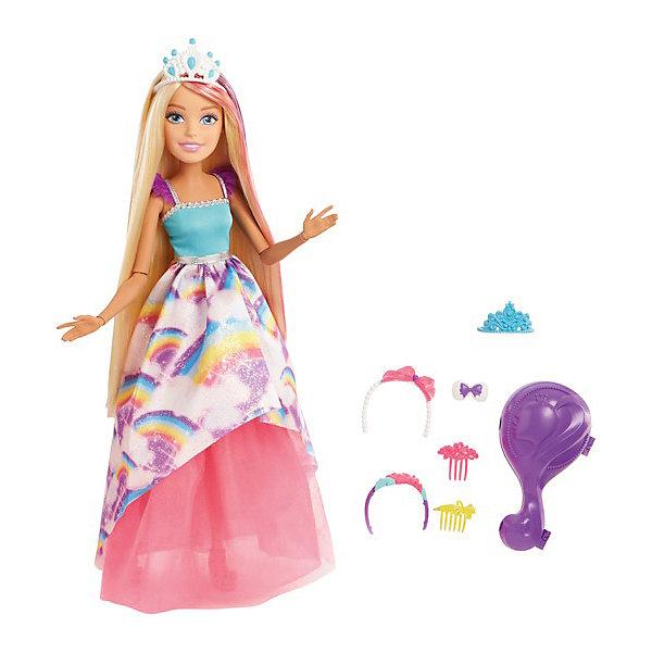Кукла Barbie Принцесса с длинными волосами, 43 смКуклы<br>Характеристики:<br><br>• возраст: от 3 лет;<br>• материал: пластик, текстиль;<br>• высота куклы: 43 см;<br>• комплектация: кукла, 2 гребня, заколка, три ободка, расческа-шкатулка, аксессуары;<br>• размер: 9,5х28,5х38 см;<br>• вес: 800 гр; <br>• бренд: Mattel.<br><br>Barbie Большая кукла с длинными волосами блондинка представляет собой роскошную куклу, знаменитую белокурую красавицу. У нее поистине сказочные волосы - длинная и густая коса. У Барби большие голубые глаза, красивый макияж и милая улыбка на лице. Она одета в шикарный наряд принцессы, поэтому девочка может разыгрывать с ней любой сказочный сюжет, например про Рапунцель. <br>В комплект данной игрушки входят аксессуары, принадлежащие кукле - тиары, ободок с бантиком, туфельки, заколочки, гребешки. Они помещены в элегантную шкатулку-расческу розового цвета. Девочку такой набор приведет в полный восторг. Она не захочет ни на минуту расставаться с такой подружкой.<br>Данная кукла уникальна тем, что она является шарнирной, то есть у нее подвижны даже запястья рук. Таким образом, кукле можно придавать абсолютно любую позу, она оживает в игре у ребенка.<br><br>Barbie Большую куклу с длинными волосами блондинку можно купить в нашем интернет-магазине.<br>Ширина мм: 380; Глубина мм: 285; Высота мм: 95; Вес г: 796; Возраст от месяцев: 36; Возраст до месяцев: 2147483647; Пол: Женский; Возраст: Детский; SKU: 8068888;