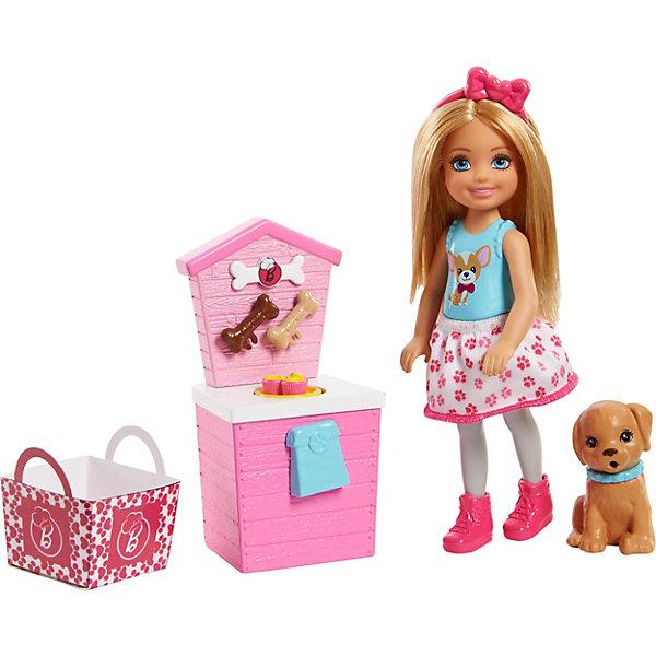 Игровой набор с мини-куклой Barbie Челси и щенок Магазин аксессуаровКуклы<br>Характеристики:<br><br>• возраст: от 3 лет;<br>• материал: пластик, текстиль;<br>• комплектация: кукла, аксессуары;<br>• размер: 16х16,5х4,5 см;<br>• вес: 242 гр; <br>• бренд: Mattel.<br><br>Набор Челси и щенок в ассортименте Barbie порадует девочек от 3 лет. Chelsea открывает свой собственный щенячий магазин с угощениями для голодных малюток и кучей возможностей для юных фантазёров! Яркий прилавок выполнен в форме собачьей будки, на нём лежат косточки и тарелка с угощениями. Фигурка щенка очаровательна и помещается в розовую корзинку с логотипом Barbie, его поза одинаково хорошо подходит как для корзинки, так и для активной игры снаружи. Детям понравится искать приключения, познавать мир и воплощать мечты, потому что с Barbie ты можешь быть тем, кем захочешь!<br><br>Набор Челси и щенок в ассортименте Barbie можно купить в нашем интернет-магазине.<br>Ширина мм: 1600; Глубина мм: 1650; Высота мм: 450; Вес г: 242; Возраст от месяцев: 36; Возраст до месяцев: 2147483647; Пол: Женский; Возраст: Детский; SKU: 8068945;