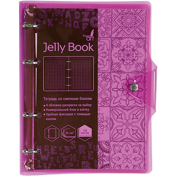 Купить Тетрадь со сменными блоками Канц-Эксмо Jelly Book А5, 120 листов, неоново-розовый, Китай, разноцветный, Женский