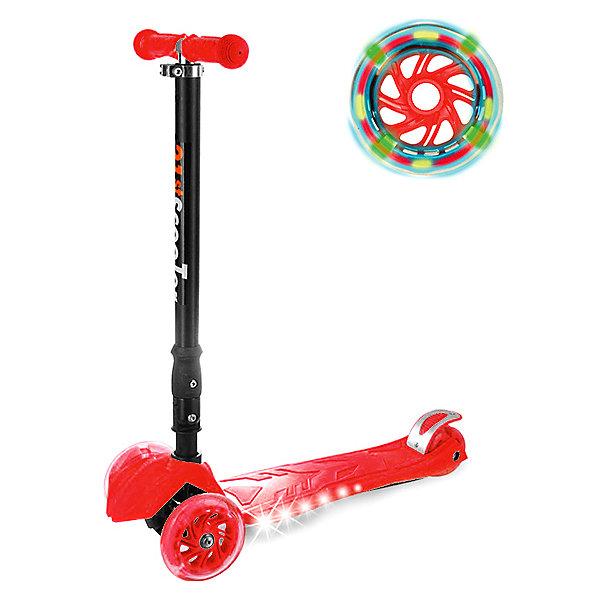 Детский трехколесный самокат Maxi со светящимися колесами , красныйСамокаты<br>Характеристики:<br><br>• возраст: от 3 лет<br>• максимальная нагрузка: до 80 кг<br>• подшипник: АВЕС 7<br>• размер деки: 32х14 см<br>• колеса: 120/80 мм<br>• материал колес: ПВХ<br>• рама: стеклопластик<br>• дека: полиамид<br>• рост ребенка: от 70 до 150 см<br>• размер упаковки: 60х28х15 см<br>• вес: 3 кг<br><br>С трехколесным самокатом Buggy Boom ваш ребенок,наслаждаясь прогулкой, сможет научиться держать равновесие, укрепить вестибурярный аппарат, укреплять имунитет. Самокат имеет надежную устойчивую конструкцию и ручки с противоскользящей поверхностью. Руль складывается и регулируется по высоте, колеса светятся, дека подсвечивается с боков. <br><br>Детский самокат Buggy Boom можно купить в нашем интернет-магазине.<br>Ширина мм: 280; Глубина мм: 600; Высота мм: 145; Вес г: 3090; Цвет: темно-розовый; Возраст от месяцев: 36; Возраст до месяцев: 72; Пол: Унисекс; Возраст: Детский; SKU: 8074951;