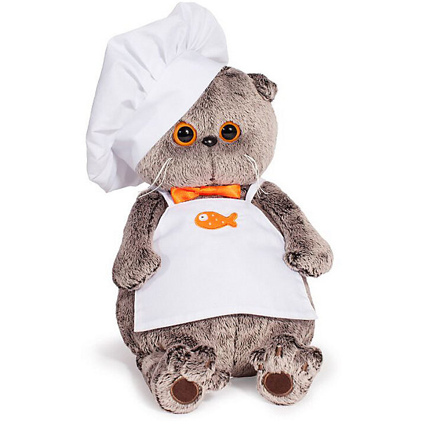 Купить Мягкая игрушка Budi Basa Кот Басик-повар со сковородкой, 25 см, Россия, коричневый, Унисекс
