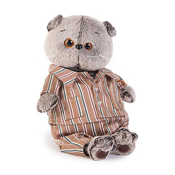 Купить Мягкая игрушка Budi Basa Кот Басик в шелковой пижамке, 25 см, Россия, коричневый, Унисекс
