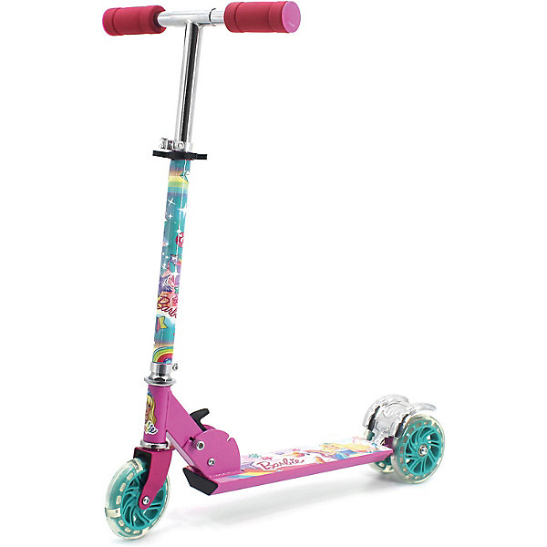 Купить Самокат 3-кол. Barbie складной, 50% алюм., колёса пвх 120, свет, abec-5., Китай, розовый/розовый, Унисекс