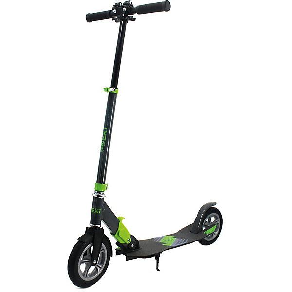 Самокат Next, 100% алюм., колеса резин. 200х33, abec-7.Самокаты<br>Характеристики товара:<br><br>• возраст: от 5 лет;<br>• максимальная нагрузка: 100 кг;<br>• материал: алюминий;<br>• диаметр колес: 200 мм;<br>• тип колес: резиновые;<br>• высота рулевой стойки: 95-100-105 см;<br>• размер деки: 56х15 см;<br>• подшипники: АВЕС 7;<br>• ножной тормоз;<br>• стояночная подножка;<br>• размер самоката: 89х37х95-105 см;<br>• размер упаковки: 85х72х31 см;<br>• вес упаковки: 4,9 кг.<br><br>Самокат Next — двухколесный самокат для передвижений по городу, а также по сложным участкам, лесным и парковым тропинкам. Он оснащен резиновыми колесами, которые хорошо амортизируют и проходят сложные участки дороги.<br><br>На колесах стоят подшипники, которые обеспечивают хороший накат и высокую скорость. Руль регулируется под рост пользователя. Дека имеет нескользящую поверхность, не давая обуви соскальзывать с нее во время катания. Для безопасного катания предусмотрен ножной тормоз на заднем колесе. <br><br>Самокат Next можно приобрести в нашем интернет-магазине.<br>Ширина мм: 890; Глубина мм: 950; Высота мм: 370; Вес г: 4900; Цвет: schwarz/gr?n; Возраст от месяцев: 60; Возраст до месяцев: 84; Пол: Унисекс; Возраст: Детский; SKU: 8264224;