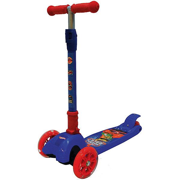 Купить Самокат 3-кол. Hot wheels ., складной, упр.наклоном, колеса pu 124и80, свет., Китай, синий/красный, Унисекс
