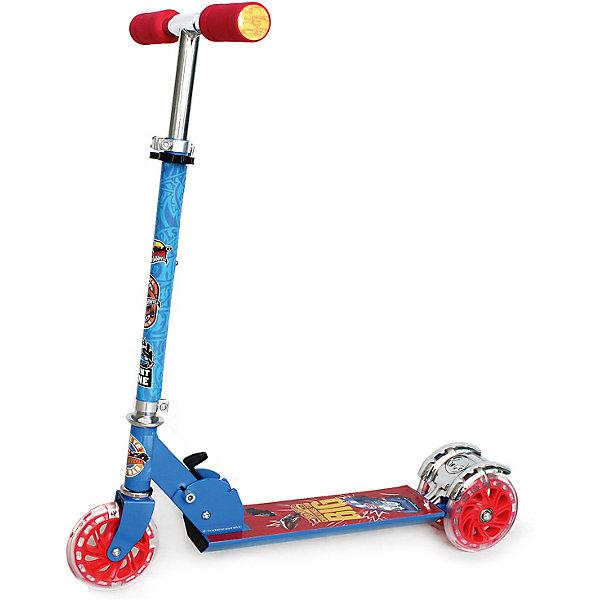 Купить Самокат 3-кол. Hot wheels складной, 50% алюм., колёса пвх 120, свет, abec-5., Китай, синий, Унисекс