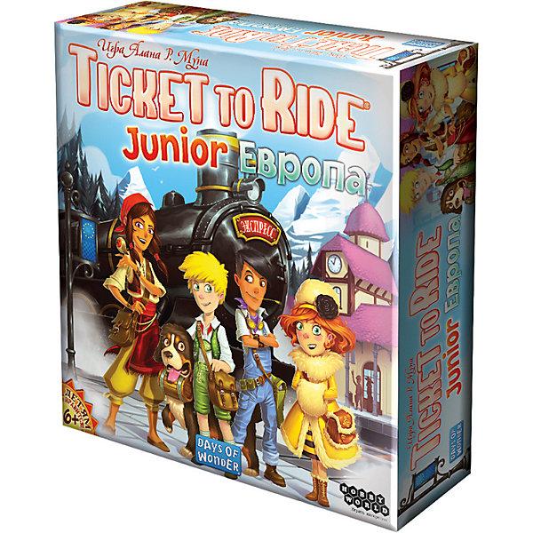 Настольная игра Hobby World  Ticket to Ride Junior: ЕвропаНастольные игры для всей семьи<br>Характеристики:<br><br>• возраст: от 6 лет;<br>• материал: картон, пластик;<br>• комплектация: игровое поле,  80 разноцветных вагончиков, 72 карты составов, 32 карты маршрутов, 4 бонусные карты , 1 золотой билет, правила игры;<br>• количество игроков: 2-4;<br>• время игры: 15-30 мин;<br>• вес: 300 гр;<br>• размер: 30х7х133 см;<br>• бренд: Hobby World  .<br><br>Настольная игра Hobby World  «Ticket to Ride Junior: Европа» - знаменитая настольная игра о приключениях на железной дороге. В версии Junior к игре смогут присоединиться самые юные путешественники. Красочные иллюстрации, упрощённые правила, но всё такой же захватывающий игровой процесс. Собирайте карты вагонов и локомотивов и с их помощью выполняйте задания, прокладывая пути между городами. Победит тот, кто первым выполнит 6 заданий. «Ticket to Ride Junior: Европа» поможет увлекательно провести время и лучше узнать географию Европы!<br><br>Настольную  игру Hobby World  «Ticket to Ride Junior: Европа»можно купить в нашем интернет-магазине.<br>Ширина мм: 300; Глубина мм: 70; Высота мм: 1330; Вес г: 300; Возраст от месяцев: 72; Возраст до месяцев: 2147483647; Пол: Унисекс; Возраст: Детский; SKU: 8264365;