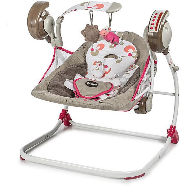 Электрокачели Baby Care Flotter, розовыеЭлектронные качели<br>Характеристики:<br><br>• мобильная модель электрокачелей для новорожденных;<br>• возраст ребенка: от рождения до 6 месяцев;<br>• вес ребенка: до 12 кг;<br>• 2 положения спинки;<br>• 5 скоростей укачивания;<br>• музыкальный блок с таймером;<br>• 16 мелодий;<br>• регулятор громкости;<br>• съемная дуга с подвесными игрушками;<br>• съемная обивка;<br>• 5-ти точечные ремни безопасности;<br>• работа от сети и на батарейках;<br>• в комплекте: сетевой адаптер, пульт дистанционного управления;<br>• материал: алюминий, пластик, полиэстер;<br>• размеры в разложенном виде: 59х53х65 см;<br>• размеры в сложенном виде: 40х11х70 см;<br>• расстояние от пола до сидения: 19 см;<br>• размеры сидения: 72х45 см;<br>• размер упаковки: 47х44х71 см;<br>• вес: 4,9 кг.<br><br>Электрокачели для новорожденных оснащены музыкальным блоком и автоматической системой укачивания. Пульт дистанционного управления позволяет настраивать режимы укачивания, активировать музыкальный блок и регулировать громкость, а также, включать таймер для автоматического отключения функций электрокачелей. Обивка снимается и стирается при температуре 30 градусов. В сложенном виде электрокачели очень компактные.<br><br>Электрокачели Baby Care «Flotter», розовые можно купить в нашем интернет-магазине.<br>Ширина мм: 710; Глубина мм: 470; Высота мм: 440; Вес г: 5000; Цвет: розовый; Возраст от месяцев: 2; Возраст до месяцев: 6; Пол: Женский; Возраст: Детский; SKU: 8264680;