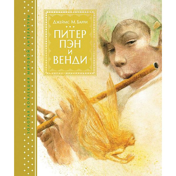 Сказка Питер Пэн и ВендиЗарубежные сказки<br>Характеристики:<br><br>• ISBN: 9785389129672;<br>• тип игрушки: книга;<br>• возраст: от 7 лет;<br>• вес: 1 кг;<br>• автор: Барри Джеймс Мэтью;<br>• художник: Роберт Ингпен;<br>• количество страниц: 208 (офсет);<br>• размер: 24,5х20,2х2,7 см;<br>• материал: бумага;<br>• издательство: Махаон.<br><br>Книга «Питер Пэн и Венди» от издательства Махаон входит в серию «Книги с иллюстрациями Роберта Ингпена» и станет отличным дополнением в книжной коллекции детей от семи лет.<br>А в этой книге вы найдете удивительную историю о сказочном мальчике, который не хотел взрослеть. Она давно поразила воображение детей и взрослых и началась с того, что однажды Питер Пэн влетел в окно детской в доме, где жили девочка Венди и двое её братьев. Вместе с Питером они отправились на далёкий волшебный остров. Там и начались их многочисленные приключения. А удивительные иллюстрации сделают эту историю еще более реальной и красочной.<br>Книга напечатана на качественной бумаге. Иллюстрации очень яркие и красочные. А шрифт всегда разборчивый и четкий, чтобы и у маленьких, и у взрослых читателей не возникало проблем со зрением.<br><br>Книгу «Питер Пэн и Венди» от издательства Махаон можно купить в нашем интернет-магазине.<br>Ширина мм: 242; Глубина мм: 204; Высота мм: 27; Вес г: 1008; Возраст от месяцев: 132; Возраст до месяцев: 168; Пол: Унисекс; Возраст: Детский; SKU: 8267840;