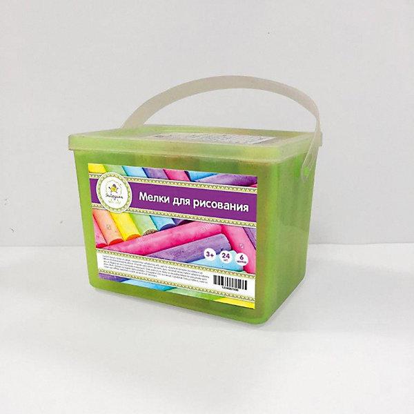 Мел цветной, толстый. 24 шт., 6 цветов, пластиковая упаковка ЯиГрушка, Fresh Trend, Китай, разноцветный, Унисекс  - купить со скидкой