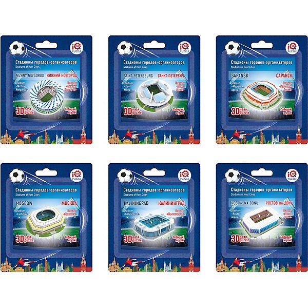 Набор 3D пазлов № 1 IQ-puzzle Малые стадионы, 6 шт.3D пазлы<br>Характеристики товара:<br><br>• возраст: от 6 лет;<br>• количество деталей в 1 пазле: 12;<br>• размер 1 пазла в собранном виде: 6х6х2,4 см см.;<br>• материал: пенокартон с элементами из металла, полимерных материалов и резины;<br>• упаковка: картонная каробка;<br>• размер упаковки: 14х12,5х4 см.;<br>• вес: 160 гр.;<br>• бренд, страна бренда: IQ PUZZLE, Россия<br>                                                                       <br>3D-пазл «Малые стадионы, набор №1», состоящий из 6 пазлов, придется по душе всем любителям футбола или кто просто увлечен созданием объемных моделей уникальных строений. Детали набора отлично проработаны, идеально и легко собирается без использования дополнительных инструментов, отличаются непревзойденным дизайном и рисунком.<br>Собранный макет можно поставить на видное место, он станет замечательным дополнением для любого интерьера. <br><br>Конструирование пазлов способствует развитию внимания, зрительного восприятия, логического и образного мышления, мелкой моторики рук. Тренирует навык восприятия новой информации, расширяет кругозор и обогащает внутренний мир ребенка.<br><br>3D-пазл «Малые стадионы, набор №1», 6 пазлов по 12 деталей, IQ PUZZLE можно купить в нашем интернет-магазине.<br>Ширина мм: 125; Глубина мм: 40; Высота мм: 140; Вес г: 160; Возраст от месяцев: 60; Возраст до месяцев: 2147483647; Пол: Унисекс; Возраст: Детский; SKU: 8271209;