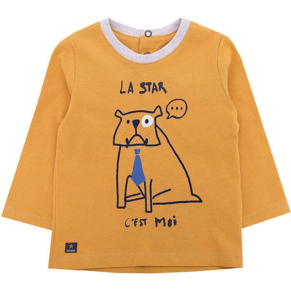 Футболка с длинным рукавом Catimini для мальчикаФутболки, топы<br>Характеристики товара:<br><br>• цвет: желтый<br>• состав ткани: 100% хлопок<br>• сезон: демисезон<br>• застежка: кнопки<br>• длинные рукава<br>• страна бренда: Франция<br><br>Удобный лонгслив для детей украшен ярким принтом, что делает его оригинальным и модным. Такой детский лонгслив сделан из натурального хлопка, который отлично подходит для ношения детьми - он дышащий и мягкий. Желтая футболка с длинным рукавом для ребенка - удобная и качественная вещь, гарантией этого является принадлежность её к известному бренду из Франции Catimini. <br><br>Лонгслив Catimini (Катимини) для мальчика можно купить в нашем интернет-магазине.<br>Ширина мм: 230; Глубина мм: 40; Высота мм: 220; Вес г: 250; Цвет: желтый; Возраст от месяцев: 6; Возраст до месяцев: 9; Пол: Мужской; Возраст: Детский; Размер: 74,71,68,98,86,80; SKU: 8273862;