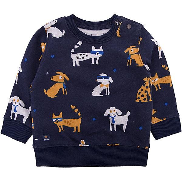 Джемпер Catimini для мальчикаТолстовки, свитера, кардиганы<br>Характеристики товара:<br><br>• цвет: синий<br>• состав ткани: 100% хлопок<br>• сезон: демисезон<br>• застежка: кнопки<br>• длинные рукава<br>• страна бренда: Франция<br><br>Темно-синий детский джемпер прямого силуэта дополнен мягкой эластичной окантовкой рукавов и ворота. Этот джемпер для детей декорирован принтом и снабжен удобными кнопками на плече. Такой джемпер для ребенка сделан из натурального хлопкового трикотажа. Детский джемпер от популярного французского бренда Catimini поможет дополнить гардероб ребенка. <br><br>Джемпер Catimini (Катимини) для мальчика можно купить в нашем интернет-магазине.<br>Ширина мм: 190; Глубина мм: 74; Высота мм: 229; Вес г: 236; Цвет: темно-синий; Возраст от месяцев: 6; Возраст до месяцев: 9; Пол: Мужской; Возраст: Детский; Размер: 74,71,68,98,86,80; SKU: 8273890;