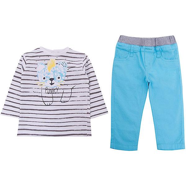 Комплект: футболка, брюки 3 Pommes для мальчикаКомплекты<br>Характеристики товара:<br><br>• цвет: белый<br>• комплектация: лонгслив, брюки<br>• состав ткани: 100% хлопок<br>• сезон: демисезон<br>• застежка: кнопки<br>• длинные рукава<br>• талия: резинка<br>• страна бренда: Франция<br><br>Легкий комплект для ребенка от популярного бренда 3 Pommes - это мягкий лонгслив и брюки. Комплект сделан из натурального хлопка, который не вызывает аллергии и прост в уходе. Этот комплект для детей украшен стильным принтом, который нравится мальчикам.<br><br>Комплект: лонгслив и брюки 3 Pommes (3 Поммис) для мальчика можно купить в нашем интернет-магазине.<br>Ширина мм: 199; Глубина мм: 10; Высота мм: 161; Вес г: 151; Цвет: бирюзовый; Возраст от месяцев: 6; Возраст до месяцев: 9; Пол: Мужской; Возраст: Детский; Размер: 74,86,80; SKU: 8274093;