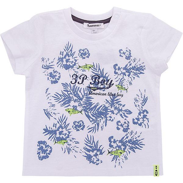 Футболка 3 Pommes для мальчикаФутболки, поло и топы<br>Характеристики товара:<br><br>• цвет: белый<br>• состав ткани: 100% хлопок<br>• сезон: лето<br>• застежка: кнопки<br>• короткие рукава<br>• страна бренда: Франция<br><br>Белая детская футболка, как и другие модели одежды для ребенка от 3 Pommes - качественная стильная вещь, созданная в традициях современного европейского дизайна. Эта футболка для детей выполнена из легкой ткани. Такая футболка для ребенка от известного бренда 3 Pommes отличается прямым силуэтом. <br><br>Футболку 3 Pommes (3 Поммис) для мальчика можно купить в нашем интернет-магазине.<br>Ширина мм: 199; Глубина мм: 10; Высота мм: 161; Вес г: 151; Цвет: белый; Возраст от месяцев: 6; Возраст до месяцев: 9; Пол: Мужской; Возраст: Детский; Размер: 74,80,92,86; SKU: 8274109;