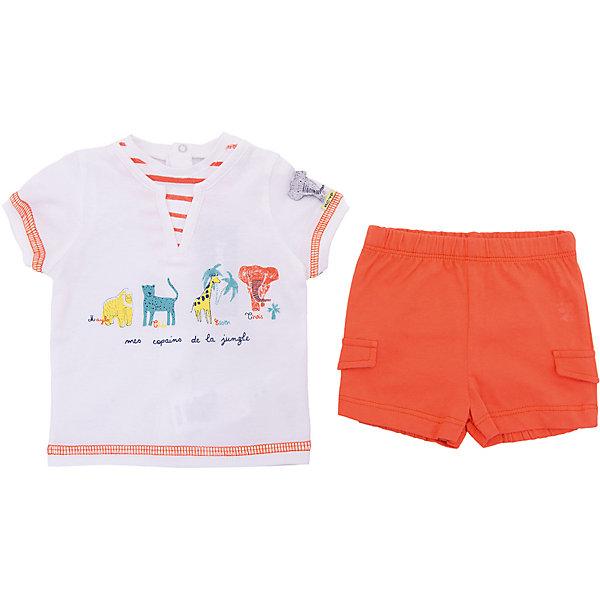 Комплект: футболка, шорты 3 Pommes для мальчикаКомплекты<br>Характеристики товара:<br><br>• цвет: оранжевый<br>• комплектация: футболка, шорты<br>• состав ткани: 100% хлопок<br>• сезон: лето<br>• застежка: кнопки<br>• короткие рукава<br>• талия: резинка<br>• страна бренда: Франция<br><br>Такой летний комплект для ребенка от популярного бренда 3 Pommes - это футболка с коротким рукавом и шорты. Комплект сделан из натурального хлопка, который не вызывает аллергии и прост в уходе. Этот комплект для детей украшен стильным принтом, который нравится мальчикам.<br><br>Комплект: футболка, шорты 3 Pommes (3 Поммис) для мальчика можно купить в нашем интернет-магазине.<br>Ширина мм: 199; Глубина мм: 10; Высота мм: 161; Вес г: 151; Цвет: оранжевый; Возраст от месяцев: 0; Возраст до месяцев: 6; Пол: Мужской; Возраст: Детский; Размер: 60,80,74,68,86; SKU: 8274312;