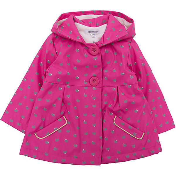 Куртка 3 Pommes для девочкиВерхняя одежда<br>Характеристики товара:<br><br>• цвет: розовый<br>• состав ткани верха: 100% полиуретан<br>• подкладка: 100% полиэстер<br>• сезон: демисезон<br>• температурный режим: от +10 до +20<br>• особенности модели: с капюшоном<br>• застежка: пуговицы<br>• страна бренда: Франция<br><br>Такая куртка для ребенка от бренда 3 Pommes из Франции дополнена капюшоном и качественной фурнитурой. Яркая детская куртка с капюшоном поможет обеспечить ребенку комфорт и тепло в прохладную погоду. Эта куртка для детей хорошо подойдет для дождливых дней.<br><br>Куртку 3 Pommes (3 Поммис) для девочки можно купить в нашем интернет-магазине.<br>Ширина мм: 356; Глубина мм: 10; Высота мм: 245; Вес г: 519; Цвет: розовый; Возраст от месяцев: 12; Возраст до месяцев: 15; Пол: Женский; Возраст: Детский; Размер: 80,74; SKU: 8274545;