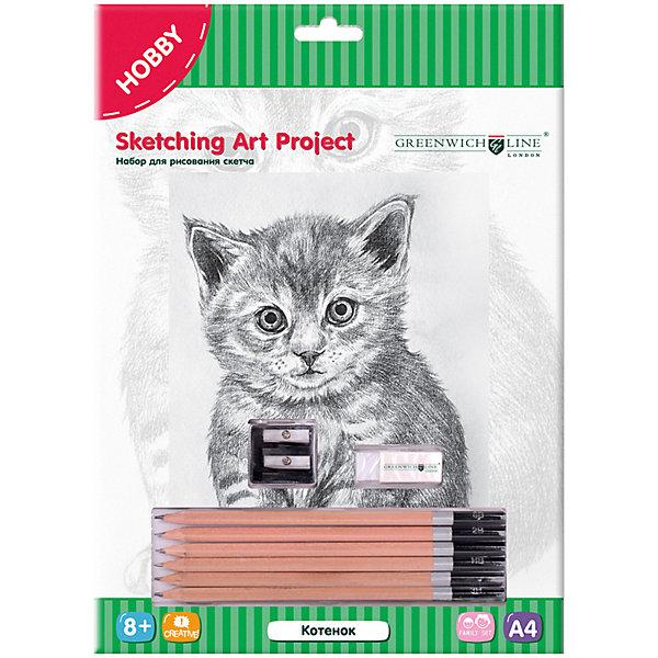 Набор для рисования скетча Greenwich Line «Котенок»Наборы для рисования<br>Характеристики:<br><br>• возраст: от 8 лет;<br>• тип: набор для рисования;<br>• в комплекте: эскиз, карандаши, ластик, точилка;<br>• формат: А4;<br>• основа: картон;<br>• количество изображений: 1;<br>• размер: 23,5х32,5 см;<br>• упаковка: картонная коробка с европодвесом;<br>• вес упаковки: 271 гр.;<br>• размер упаковки: 33х23,8х1,5 см;<br>• страна бренда: Великобритания.<br><br>Набор для рисования скетча Greenwich Line (Гринвич Лайн) «Котенок» - это эскиз, набросок, с которого начинается рисунок и даже картина. В комплекте предусмотрены необходимые предметы для творчества: эскиз, карандаши, ластик, точилка. Набор способствует развитию творческих способностей, фантазии, воображения и мелкой моторики рук.<br><br>Набор для рисования скетча Greenwich Line (Гринвич Лайн) «Котенок» можно купить в нашем интернет-магазине.<br>Ширина мм: 330; Глубина мм: 238; Высота мм: 15; Вес г: 271; Возраст от месяцев: 96; Возраст до месяцев: 2147483647; Пол: Унисекс; Возраст: Детский; SKU: 8276486;