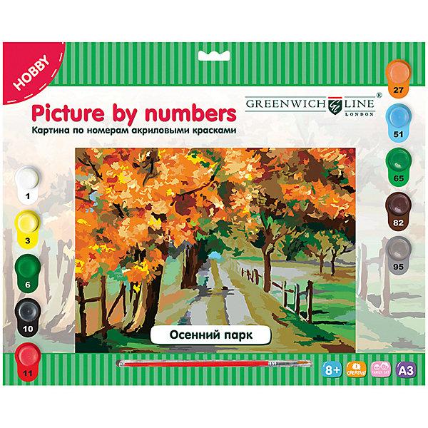 Картина по номерам Greenwich Line «Осенний парк» A3Картины по номерам<br>Характеристики:<br><br>• возраст: от 8 лет;<br>• тип: набор для рисования;<br>• в комплекте: картон с нанесенным контуром, кисть, акриловые краски, лист для тренировки;<br>• формат: А3;<br>• основа: картон;<br>• размер: 29,3х39,2 см;<br>• упаковка: картонная коробка с европодвесом;<br>• вес упаковки: 410 гр.;<br>• размер упаковки: 40х32,5х2 см;<br>• страна бренда: Великобритания.<br><br>Картина по номерам Greenwich Line (Гринвич Лайн) «Осенний парк» — это набор для творчества, который состоит из двух основных элементов: холста и специальных красок. Заранее обозначенные зоны на холсте раскрашиваются специальными красками.<br><br>В набор входят: 1 картон с нанесенным контуром, пронумерованный в соответствии с номерами красок, 10 акриловых красок (все краски уже готовы к использованию), 1 кисть из нейлона, 1 лист бумаги для тренировки. Набор способствует развитию творческих способностей, фантазии, воображения и мелкой моторики рук.<br><br>Картину по номерам Greenwich Line (Гринвич Лайн) «Осенний парк» А3 можно купить в нашем интернет-магазине.<br>Ширина мм: 403; Глубина мм: 325; Высота мм: 20; Вес г: 410; Возраст от месяцев: 96; Возраст до месяцев: 2147483647; Пол: Унисекс; Возраст: Детский; SKU: 8276504;