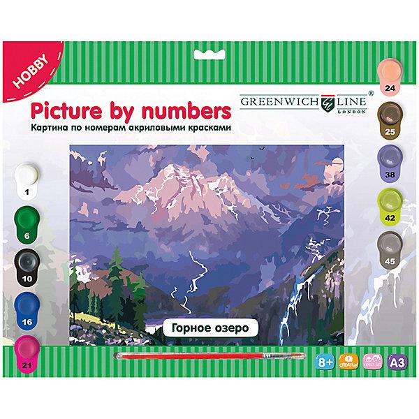 Картина по номерам Greenwich Line «Горное озеро»Картины по номерам<br>Характеристики:<br><br>• возраст: от 8 лет;<br>• тип: набор для рисования;<br>• в комплекте: картон с нанесенным контуром, кисть, акриловые краски, лист для тренировки;<br>• формат: А3;<br>• основа: картон;<br>• размер: 29,3х39,2 см;<br>• упаковка: картонная коробка с европодвесом;<br>• вес упаковки: 410 гр.;<br>• размер упаковки: 40х32,5х2 см;<br>• страна бренда: Великобритания.<br><br>Картина по номерам Greenwich Line (Гринвич Лайн) «Горное озеро» - это набор для творчества, который состоит из двух основных элементов: холста и специальных красок. Заранее обозначенные зоны на холсте раскрашиваются специальными красками.<br><br>В набор входят: 1 картон с нанесенным контуром, пронумерованный в соответствии с номерами красок, 10 акриловых красок (все краски уже готовы к использованию), 1 кисть из нейлона, 1 лист бумаги для тренировки. Набор способствует развитию творческих способностей, фантазии, воображения и мелкой моторики рук.<br><br>Картину по номерам Greenwich Line (Гринвич Лайн) «Горное озеро» можно купить в нашем интернет-магазине.<br>Ширина мм: 400; Глубина мм: 325; Высота мм: 20; Вес г: 410; Возраст от месяцев: 96; Возраст до месяцев: 2147483647; Пол: Унисекс; Возраст: Детский; SKU: 8276514;