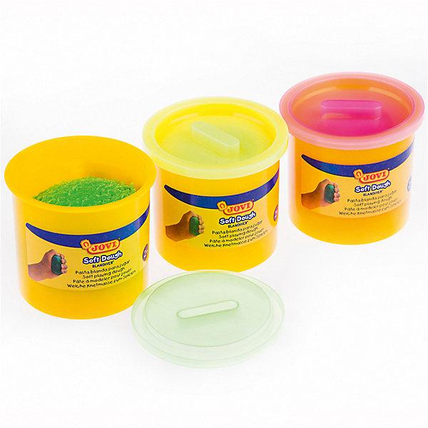 JOVI Тесто для лепки, неоновые цвета, в наборе 3 шт. картонТесто для лепки<br>Количество цветов: 3 <br>Вес нетто: 330<br>Возраст: от 2 лет<br>Затвердевает на воздухе: да<br>Инструменты: нет<br>Формочки: нет<br>Упаковка ед. товара: картонная коробка<br>Blandiver - мягкая игровая детская паста для лепки с малышами (аналог соленого теста). Сертифицирована от 2х лет. Натуральный продукт на основе муки, соли и воды. Безвредная, но с неприятным соленым вкусом. Супер мягкая, очень свежая по текстуре,приятная на ощупь, не липкая. Пищевые красители, исключительно безопасный состав. Не имеет химического запаха. Паста легко принимает нужную форму, идеально подходит для маленьких слабых детских рук и предназначена для знакомства ребенка с лепкой и создания простых фигурок руками или с помощью формочек и экструдеров. Помогает развивать мелкую моторику, воображение и интуицию ребенка. Затвердевает на воздухе, сохраняет яркий цвет. Три особо ярких неоновых цвета разбудят фантазию малыша и помогут ему узнать цвета и оттенки - лимонный, розовый, салатовый по 110 гр в банках емкостью 125 мл. После высыхания паста легко снимается влажной губкой или щеткой с одежды, ковров и др. поверхностей, не оставляя следов. Страна производства Испания.<br>Ширина мм: 170; Глубина мм: 120; Высота мм: 40; Вес г: 443; Возраст от месяцев: -2147483648; Возраст до месяцев: 2147483647; Пол: Унисекс; Возраст: Детский; SKU: 8276528;