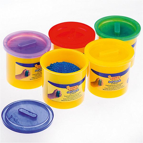 Тесто для лепки JOVI, 5 цветовТесто для лепки<br>Характеристики:<br><br>• возраст: от 2 лет; <br>• в комплекте: 5 баночек пластилина;<br>• количество цветов: 5;<br>• материал: пластилин;   <br>• размер упаковки: 35,5х7х6 см.;<br>• вес в упаковке: 730 гр.;<br>• объем емкости: 125 мл.; <br>• упаковка: картонная коробка; <br>• страна бренда: Испания.<br><br>Тесто для лепки JOVI (Джови) легко принимает любую форму, затвердевая на воздухе, сохраняет яркий цвет. Тесто для лепки пяти ярких цветов: синий, желтый, зеленый, фиолетовый, красный. Работа с пастой помогает ребенку развивать ловкость рук, общую моторику, осязательные навыки, воображение.<br><br>Тесто для лепки JOVI (Джови), 5 цветов можно купить в нашем интернет-магазине.<br>Ширина мм: 355; Глубина мм: 70; Высота мм: 60; Вес г: 730; Возраст от месяцев: -2147483648; Возраст до месяцев: 2147483647; Пол: Унисекс; Возраст: Детский; SKU: 8276594;