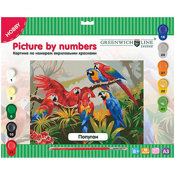 Greenwich Line Картина по номерам Попугаи A3, с акриловыми красками, картон, европодвесКартины по номерам<br>Тип: картина по номерам<br>Основа: картон<br>Формат : A3<br>Размер: 29,3*39,2<br>Возраст: от 8 лет<br>Пол ребенка: универсальный<br>Кисть: есть<br>Краски: акрил<br>Количество цветов: 10 <br>Лист для тренировки: есть<br>Упаковка ед. товара: картонная коробка<br>Наличие европодвеса: есть<br>Картины по номерам - это очень увлекательное занятие, которое будет интересно как детям, так и взрослым. Почувствуйте себя художником, нарисуйте свое произведение. В набор входят: 1 картон с нанесенным контуром, пронумерованный в соответствии с номерами красок; 10 акриловых красок (все краски уже готовы к использованию); 1 кисть из нейлона; 1 лист бумаги для тренировки.<br>Ширина мм: 400; Глубина мм: 325; Высота мм: 20; Вес г: 408; Возраст от месяцев: 96; Возраст до месяцев: 2147483647; Пол: Унисекс; Возраст: Детский; SKU: 8276606;