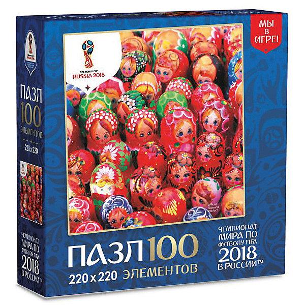 Пазл Origami FIFA-2018 Матрёшки Ярмарка матрёшек, 100 элементовПазлы для малышей<br>Характеристики:<br><br>• возраст: от 3 лет;<br>• материал: бумага;<br>• количество деталей: 100;<br>• вес: 100 гр;<br>• размер: 5х19х14 см;<br>• издательство: Оригами.<br><br>Пазл  ЧМ «Матрешки. Ярмарка матрешек» порадует детей от 3 лет и старше. Пазлы с матрешками, традиционными символами русской культуры украсят домашний интерьер, поднимут ваше настроение и станут отличным подарком для вас и ваших близких!  Собирание пазлов поможет ребенку развить усидчивость, внимательность и мелкую моторику.<br><br>Пазл ЧМ «Матрешки. Ярмарка матрешек»  можно купить в нашем интернет-магазине.<br>Ширина мм: 50; Глубина мм: 190; Высота мм: 140; Вес г: 100; Возраст от месяцев: 36; Возраст до месяцев: 2147483647; Пол: Унисекс; Возраст: Детский; SKU: 8283961;