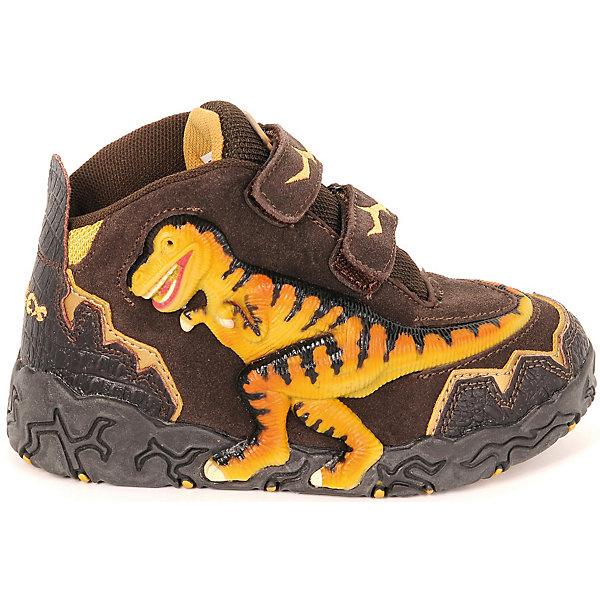 Ботинки Dinosoles для мальчикаБотинки<br>Ботинки Dinosoles для мальчика<br>Детские ботинки из натуральной кожи со стилизованной подошвой в виде следа динозавра, светодиоды, рельефная резиновая аппликация динозавра<br>Состав:<br>верх: натуральная кожа/замша, подклад: текстиль, подошва: резина<br>Ширина мм: 262; Глубина мм: 176; Высота мм: 97; Вес г: 427; Цвет: коричневый; Возраст от месяцев: 36; Возраст до месяцев: 48; Пол: Мужской; Возраст: Детский; Размер: 27,33,32,31,30,29,28; SKU: 8297962;