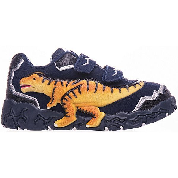 Кроссовки Dinosoles для мальчикаКроссовки<br>Кроссовки Dinosoles для мальчика<br>Детские кроссовки из натуральной кожи со стилизованной подошвой в виде следа динозавра, светодиоды, рельефная резиновая аппликация динозавра<br>Состав:<br>верх: натуральная кожа/замша, подклад: текстиль, подошва: резина<br>Ширина мм: 250; Глубина мм: 150; Высота мм: 150; Вес г: 250; Цвет: синий; Возраст от месяцев: 36; Возраст до месяцев: 48; Пол: Мужской; Возраст: Детский; Размер: 27,33,32,31,30,29,28; SKU: 8297986;