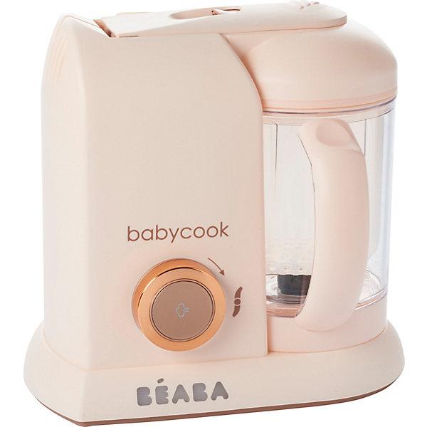 Блендер-пароварка Beaba Babycook, розоваяКухонная утварь<br>Компания Beaba является ведущим экспертом в детской гастрономии. В течение 25 лет молодые мамочки начинают первый прикорм с помощью блендера-пароварки Babycook и аксессуаров.<br><br>Блендер-пароварка Babycook Solo 4 в 1:<br>Готовит на пару.<br>Измельчает.<br>Подогревает.<br>Размораживает.<br>Beaba Babycook Solo всего за 15 минут поможет приготовить овощи, фрукты, рыбу и мясо, а также каши и макароны.<br><br>Готовит на пару = сохраняет витамины и вкус.<br>Вам не потребуется добавлять дополнительный жир, в продуктах сохраняются витамины, аромат и натуральный вкус.<br><br>Измельчает = вы сами выбираете консистенцию.<br>Для ребенка первый прикорм начинается с пюре, позже малыш продует измельченные продукты и лишь затем кусочками. Beaba блендер-пароварка Babycook Solo поможет выбрать любую консистенцию с помощью кнопки пульсации.<br><br>Подогревает<br>Разогреть любое блюдо возможно либо в стеклянной банке, либо в термоустойчивом контейнере.<br><br>Размораживает<br>Вы без труда разморозите домашние блюда, заранее приготовленные и замороженные в небольших порционных контейнерах Beaba.<br><br>Beaba блендер-пароварка Babycook Solo купить которую Вы без труда можете у нас, станет незаменимым помощником на Вашей кухне.<br>Ширина мм: 275; Глубина мм: 195; Высота мм: 250; Вес г: 2400; Цвет: розовый/розовый; Возраст от месяцев: 4; Возраст до месяцев: 36; Пол: Женский; Возраст: Детский; SKU: 8298169;