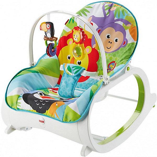 Кресло-качалка Fisher Price Растем вместеКачалки<br>Характеристики:<br><br>• возраст: с рождения;<br>• материал: текстиль, металл, пластик;<br>• складная: да;<br>• в комплекте: кресло, съемная перекладина с 2 игрушками;<br>• 2 положения кресла;<br>• максимальная нагрузка: 18 кг.;<br>• вес упаковки: 3,54 кг.;<br>• размер упаковки: 16х40х65 см;<br>• страна бренда: США.<br><br>Кресло-качалку Mattel Fisher Price «Растем вместе» можно использовать как качалку для новорожденных. Устройство оснащено вибрацией, чтобы ребенку было комфортнее засыпать. Пока малыш совсем маленький, ему будет интересно изучать игрушки на перекладине. Игрушки развивают тактильное и цветовое восприятие.<br><br>Кресло оснащено удобным сиденьем со съемной подкладкой, которую можно стирать в машинке. Когда ребенок подрастет, перекладину можно снять и использовать кресло как качалку. Изделие складывается для переноски. Сделано из качественных безопасных материалов.<br><br>Кресло-качалку «Растем вместе» можно купить в нашем интернет-магазине.<br>Ширина мм: 160; Глубина мм: 400; Высота мм: 650; Вес г: 3544; Возраст от месяцев: -2147483648; Возраст до месяцев: 2147483647; Пол: Унисекс; Возраст: Детский; SKU: 8300791;