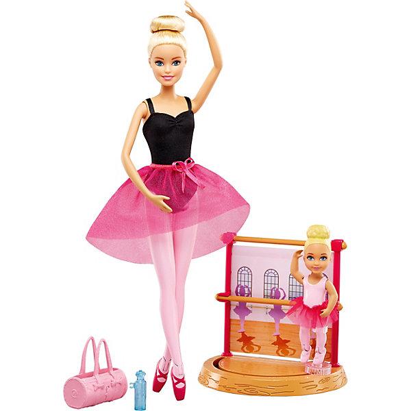 Игровой набор Barbie Барби-гимнастка Инструктор балетаПопулярные игрушки<br>Характеристики:<br><br>• возраст: от 3 лет;<br>• материал: пластик, текстиль;<br>• высота куклы: 29 см;<br>• в наборе: кукла, пупсик, тренажер балерины, аксессуары;<br>• вес упаковки: 281 гр.;<br>• размер упаковки: 33х22х6 см;<br>• страна бренда: США.<br><br>Игровой набор из серии «Барби-гимнастка» Mattel Barbie включает все необходимое для создания игровой сцены, в которой Барби становится балериной. Кукла одета в советующую форму, ручки и ножки подвижны. В наборе есть пупсик-девочка, которую Барби обучает танцам.<br><br>Пупсика можно поставить на платформу для балерины. С помощью крепления к ножке куколку можно вращать, изображая движения танца. Набор подходит для сюжетных игр. Сделано из качественных безопасных материалов.<br><br>Игровой набор Barbie «Барби-гимнастка» можно купить в нашем интернет-магазине.<br>Ширина мм: 330; Глубина мм: 220; Высота мм: 60; Вес г: 350; Возраст от месяцев: 36; Возраст до месяцев: 2147483647; Пол: Женский; Возраст: Детский; SKU: 8300847;