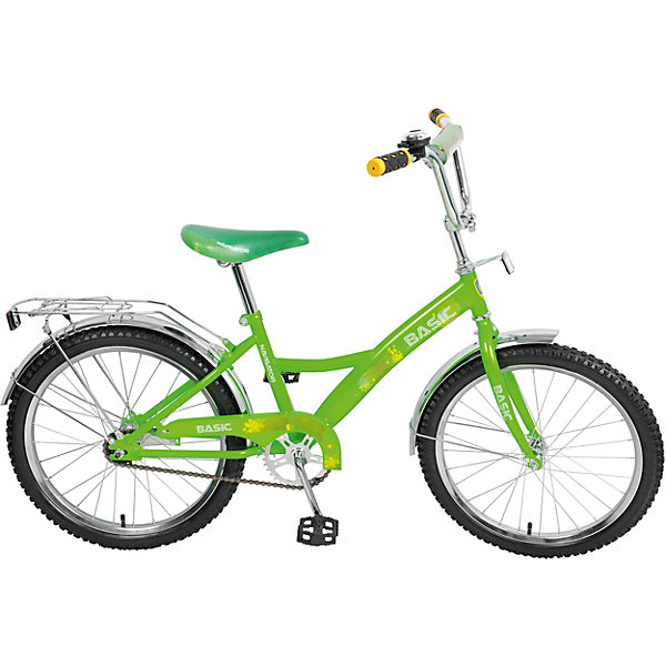 Двухколёсный велосипед Navigator KITE Basic 20, зелёныйВелосипеды и аксессуары<br>Характеристики:<br><br>• возраст: от 6 лет;<br>• материал: металл, пластик, резина;<br>• рост ребенка: 125-145 см;<br>• количество скоростей: 1;<br>• в комплекте: велосипед, звонок, крылья, багажник;<br>• диаметр колес: 20 дюймов;<br>• тип тормоза: ножной;<br>• вес упаковки: 11,8 кг.;<br>• размер упаковки: 104х17х51 см;<br>• страна бренда: Россия.<br><br>Велосипед «Навигатор» Basic – отличный вариант первого взрослого велосипеда для ребенка. Стальная рама отлично выдерживает механическое воздействие. Большие колеса улучшают проходимость по неровной дороге.<br><br>На руле есть мягкая накладка и звонок, рулевая стойка регулируется по высоте. Ножной тормоз позволяет удобно останавливать велосипед вращением педалей в обратную сторону. Цепь скрыта щитком, а защитные крылья уберегут ребенка от брызг во время катания.<br><br>Велосипед 20 д. «Навигатор» Basic можно купить в нашем интернет-магазине.<br>Ширина мм: 1040; Глубина мм: 170; Высота мм: 510; Вес г: 11800; Цвет: зеленый; Возраст от месяцев: 60; Возраст до месяцев: 2147483647; Пол: Унисекс; Возраст: Детский; SKU: 8300918;