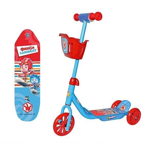 Трёхколёсный самокат 1Toy Фиксики с корзиной, голубойПопулярные игрушки<br>Характеристики:<br><br>• возраст: от 3 лет;<br>• материал: пластик, металл;<br>• рост ребенка: 98-122 см;<br>• в комплекте: самокат, корзина;<br>• максимальная нагрузка: 20 кг.;<br>• высота руля от деки: 60 см;<br>• высота от пола до ручки: 73 см; <br>• регулируемый руль: нет;<br>• диаметр колес: переднее – 15 см, задние – 12,5 см;<br>• вес упаковки: 2,03 кг.;<br>• размер упаковки: 56х15х27 см;<br>• страна бренда: Россия.<br><br>Самокат 1Toy «Фиксики» подойдет для городских прогулок по ровному асфальту. Три колеса обеспечивают большую устойчивость и подготовят ребенка к использованию первого взрослого самоката.<br><br>Увеличенное переднее колесо улучшает проходимость. Ручки руля удобны для захвата, есть противоударные ограничители. Самокат сделан из прочных надежных материалов.<br><br>Самокат 1Toy «Фиксики» 3-х колесный можно купить в нашем интернет-магазине.<br>Ширина мм: 560; Глубина мм: 150; Высота мм: 270; Вес г: 2033; Цвет: голубой; Возраст от месяцев: 60; Возраст до месяцев: 2147483647; Пол: Унисекс; Возраст: Детский; SKU: 8300970;