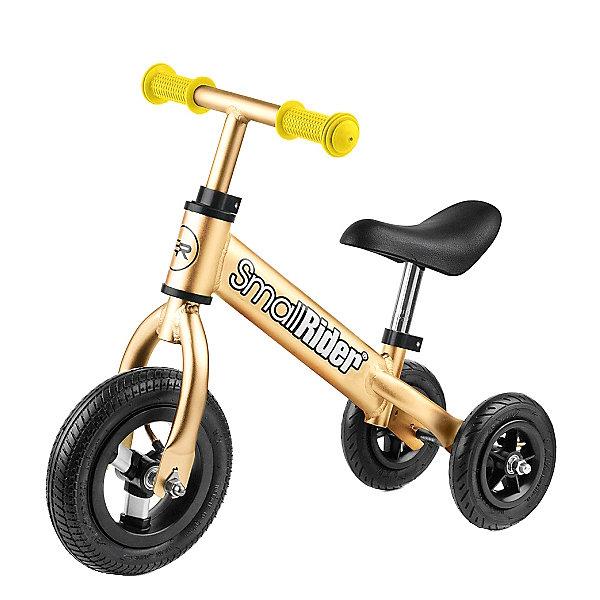 Беговел Small Rider «Jimmy», золотойБеговелы<br>Характеристики:<br><br>• возраст: от 1 года;<br>• цвет: золотой;<br>• максимальная нагрузка: 30 кг;<br>• материал и тип сиденья: кожзам, мягкое, эргономичное;<br>• материал рамы: алюминий;<br>• шины: надувные (пневматическая шина) с протектором;<br>• диаметр колес: 8 мм;<br>• размер колес: задние 15,5 см, переднее 22 см;<br>• ручки: резиновые;<br>• минимальная высота от пола до сиденья 26 см;<br>• максимальная высота от пола до сиденья 36 см;<br>• регулировка руля по высоте: 40-50 см;<br>• регулировка сиденья по высоте: без ключа, 26-36 см;<br>• размер упаковки: 47х25х15 см;<br>• вес: 2,5 кг;<br>• страна бренда: Россия.<br><br>Беговел-каталка Small Rider «Jimmy» (Смолл Райдер Джимми) может трансформироваться в устойчивую каталку для самых маленьких, очень похожую на трехколесный велосипед. Соединить колеса закрепить гайками на длинную ось, в режиме беговела на короткую, и получится полноценный беговел.Резиновые колеса катятся мягко и бесшумно, поэтому можно использовать как в квартире, так и на улице.<br> <br>Беговел-каталка Small Rider «Jimmy» (Смолл Райдер Джимми), золотой можно приобрести в нашем интернет-магазине.<br>Ширина мм: 470; Глубина мм: 250; Высота мм: 150; Вес г: 3000; Цвет: желтый; Возраст от месяцев: 12; Возраст до месяцев: 36; Пол: Унисекс; Возраст: Детский; SKU: 8302637;