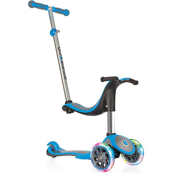 Трехколесный самокат Globber «Evo 4 In 1 Plus Lights», голубойСамокаты<br>Характеристики:<br><br>• возраст: от 12 мес.;<br>• цвет: голубой;<br>• максимальная нагрузка: 50 кг;<br>• максимальная нагрузка сидя: 20 кг;<br>• колеса: передние светодиодные;<br>• материал колес: полиуретан;<br>• диаметр колес: передние 121 мм, задние 80 мм;<br>• подшипник высокопрочный ABEC 5;<br>• тормозная система: ножной тормоз;<br>• рулевая стойка: регулируемая, съемная, алюминиевая;<br>• ручки: мягкая термопластичная резина;<br>• высота регулировки: 2 позиции для сиденья (23/30 см) в режиме каталки и 3 позиции для руля (от 67,5 до 77,5 см);<br>• высота самоката: 91,5 см;<br>• ширина руля: 27см;<br>• минимальный рост: 70 см;<br>• складной механизм;<br>• дека: армированный нейлон с антискользящей поверхностью;<br>• размер деки: ширина 12 см, длина 32 см;<br>• размеры упаковки: 56х16х25 см;<br>• вес самоката: 3,2 кг; <br>• страна бренда: Франция.<br><br>Самокат Globber «Evo 4 In 1 Plus Lights» (Глобер Ева 4 в 1 Плюс Лайц) имеет 4 этапа трансформации: каталка с сиденьем и родительской ручкой для детей от 12 месяцев, каталка без родительской ручки для детей от 15 месяцев, самокат с низкой ручкой для детей от 24 месяцев, самокат с высоким рулем для детей от 36 месяцев.<br><br>Самокат легко регулируется по высоте ребенка и оснащен алюминиевым рулем, который регулируется по высоте в четырех положениях и имеет встроенную блокировку рулевого управления, с ее помощью можно быстро и безопасно научиться кататься. Также регулируется родительская ручка. Безопасность обеспечивает эргономичное сиденье, из которого ребенок не выпадет, а также более длинный тормоз. <br><br>Трехколесный самокат Globber «Evo 4 In 1 Plus Lights» (Глобер Ева 4 в 1 Плюс Лайц), голубой можно приобрести в нашем интернет-магазине.<br>Ширина мм: 570; Глубина мм: 195; Высота мм: 260; Вес г: 4250; Цвет: голубой; Возраст от месяцев: 12; Возраст до месяцев: 2147483647; Пол: Мужской; Возраст: Детский; SKU: 8304642;
