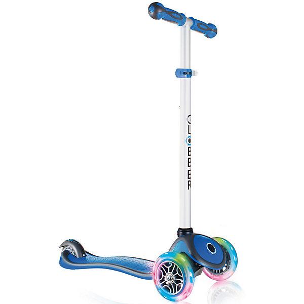 Трехколесный самокат Globber «Primo Plus Lights», синийСамокаты<br>Характеристики:<br><br>• возраст: от 3 лет;<br>• цвет: синий;<br>• максимальная нагрузка: 50 кг;<br>• колеса: передние светодиодные;<br>• материал колес: полиуретан;<br>• диаметр колес: передние 121мм, задние 80мм;<br>• подшипник высокопрочный ABEC 5;<br>• тормозная система: ножной тормоз;<br>• ручки: мягкая двухкомпонентная термопластичная резина;<br>• 4 положения руля от 67,5 до 82,5 см;<br>• рулевая стойка: алюминиевая, регулируемая, съемная;<br>• минимальный рост: 96 см;<br>• дека: двухкомпонентный армированный нейлон;<br>• размер деки: ширина 12 см, длина 32 см;<br>• размеры упаковки: 59х16,5х26 см;<br>• без складной конструкции;<br>• вес самоката: 2,6 кг;<br>• страна бренда: Франция.<br><br>Трехколесный самокат «Primo Plus Lights» (Глобер Примо Плюс Лайц) имеет регулировку руля по высоте, ножной тормоз и удобную платформу, что позволит освоить навыки катания и держать равновесие. Три колеса, крепкая и низкая дека обеспечат ребенку стабильность и комфорт. Особенностью данной модели являются светящиеся передние колеса.<br><br>Самокат оснащен кнопкой для блокировки колес, что способствует облегчению в обучении катанию. Самокат обладает регулируемым Т-образным рулем, который легко адаптируется к росту ребенка. Колеса самоката выполнены из высококачественного полиуретана с нейлоновыми покрытиями  имеют отличный отскок, а ручки из мягкой термопластичной резины. <br><br>Мягкий и плавный задний тормоз, обеспечивающий торможение, предотвращающее износ заднего колеса.<br><br>Трехколесный самокат Globber «Primo Plus Lights» (Глобер Примо Плюс Лайц), синий можно приобрести в нашем интернет-магазине.<br>Ширина мм: 590; Глубина мм: 165; Высота мм: 260; Вес г: 3100; Цвет: синий; Возраст от месяцев: 36; Возраст до месяцев: 2147483647; Пол: Мужской; Возраст: Детский; SKU: 8304664;
