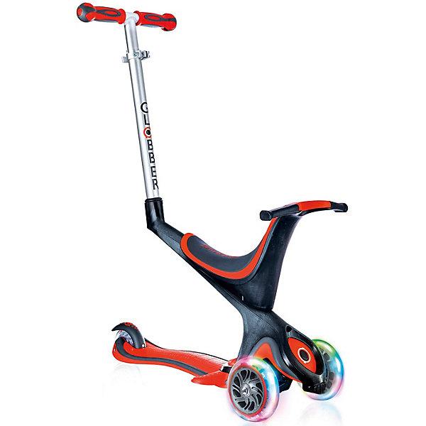 Трехколесный самокат Globber «Evo 5 In 1 Lights», красныйСамокаты<br>Характеристики:<br><br>• возраст: от 12 мес.;<br>• цвет: красный;<br>• максимальная нагрузка: 50 кг;<br>• максимальная нагрузка сидя: 20 кг;<br>• колеса: передние светодиодные;<br>• материал колес: полиуретан;<br>• диаметр колес: передние 121 мм, задние 80 мм;<br>• подшипник высокопрочный ABEC 5;<br>• блокировка: передняя встроенная;<br>• тормозная система: ножной тормоз;<br>• рулевая стойка: регулируемая, съемная, алюминиевая;<br>• ручки: мягкая термопластичная резина;<br>• высота регулировки: 2 позиции для сиденья (23/30 см) в режиме каталки и 3 позиции для руля (от 67,5 до 77,5 см);<br>• высота самоката: 91,5 см;<br>• ширина руля: 27см;<br>• минимальный рост: 70 см;<br>• складной механизм;<br>• дека: армированный нейлон с антискользящей поверхностью;<br>• размер деки: ширина 12 см, длина 32 см;<br>• размеры упаковки: 57х19,5х26 см;<br>• вес самоката: 3,2 кг; <br>• страна бренда: Франция.<br><br>Самокат Globber «Evo 5 In 1 Lights» (Глобер Ева 5 в 1 Лайц) совмещает в себе три функции в 5 разных формах и готов быть верным спутником для детей по мере их знакомства с самокатным миром. Светящиеся колеса со светодиодами изготовлены из полиуретана, что обеспечивает мягкий ход самоката. Самокат имеет съемное сидение, что служит отличным трициклом для годовалых детей.<br><br>Самокат легко регулируется по высоте ребенка и оснащен алюминиевым рулем, который регулируется по высоте и имеет встроенную блокировку рулевого управления, с ее помощью можно быстро и безопасно научиться кататься. Также регулируется родительская ручка.<br><br>Безопасность обеспечивает эргономичное сиденье, из которого ребенок не выпадет, а также более длинный тормоз. Светящиеся светодиодные колеса изготовлены из полиуретана, что обеспечивает мягкий ход самоката.<br><br>Трехколесный самокат Globber «Evo 5 In 1 Lights» (Глобер Ева 5 в 1 Лайц), красный можно приобрести в нашем интернет-магазине.<br>Ширина мм: 570; Глубина мм: 265; Высота