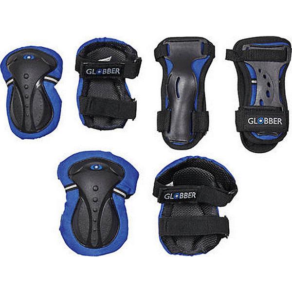 Комплект защиты Globber «Junior Protective Set», синийЗащитные аксессуары<br>Характеристики:<br><br>• возраст: от 6 лет;<br>• цвет: синий;<br>• удобная регулировка;<br>• вес до 50 кг;<br>• размер xs;<br>• подходит как для мальчиков, так и для девочек;<br>• вес упаковки: 400 гр.;<br>• размеры упаковки: 0,5х15х25 см;<br>• страна бренда: Франция.<br><br>Комплект защитного оборудования «Junior Protective Set» (Глоббер Джуниор Протектив Сет) размер xs, состоит из пары накладок на запястья, налокотников и наколенников, которые можно с легкостью отрегулировать и наслаждаться безопасным и приятным катанием.<br><br>Комплект защиты Globber «Junior Protective Set» (Глоббер Джуниор Протектив Сет) можно купить в нашем интернет-магазине.<br>Ширина мм: 50; Глубина мм: 150; Высота мм: 250; Вес г: 400; Цвет: синий; Возраст от месяцев: 36; Возраст до месяцев: 2147483647; Пол: Мужской; Возраст: Детский; SKU: 8304798;