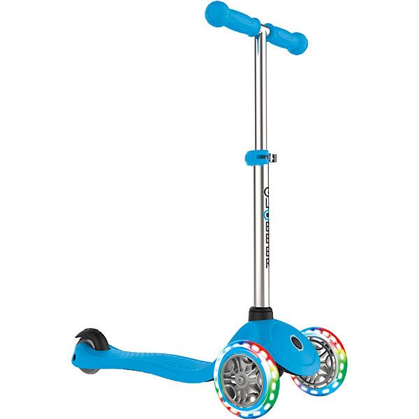 Трехколесный самокат Globber «Primo Lights», голубойСамокаты<br>Характеристики:<br><br>• возраст: от 3 лет;<br>• цвет: голубой;<br>• максимальная нагрузка: 50 кг;<br>• колеса: передние светодиодные;<br>• материал колес: полиуретан 82А;<br>• диаметр колес: передние 121 мм, задние 80 мм;<br>• подшипник высокопрочный ABEC 5;<br>• тормозная система: ножной тормоз;<br>• ручки: мягкая двухкомпонентная термопластичная резина;<br>• регулировка высоты руля от 67,5 до 77,5 см;<br>• рулевая стойка: алюминиевая, регулируемая, съемная;<br>• минимальный рост: 95 см;<br>• дека: двухкомпонентный армированный нейлон;<br>• размер деки: ширина 12 см, длина 32 см;<br>• размеры упаковки: 57х16,5х26 см;<br>• вес самоката: 2,7 кг;<br>• страна бренда: Франция.<br><br>Трехколесный самокат Globber «Primo Lights» (Глобер Примо Лайц) имеет регулировку руля по высоте, ножной тормоз и удобную платформу, что позволит освоить навыки катания и держать равновесие. Три колеса, крепкая и низкая дека обеспечат ребенку стабильность и комфорт.<br><br>При движении самоката передние колеса светятся. Система блокировки - разблокировки колес и усилитель руля позволяют постепенно обучаться поворотам. Поворот руля производится наклоном, что делает поездки безопасными.<br><br>Трехколесный самокат Globber «Primo Lights» (Глобер Примо Лайц), голубой можно приобрести в нашем интернет-магазине.<br>Ширина мм: 570; Глубина мм: 165; Высота мм: 260; Вес г: 3100; Цвет: голубой; Возраст от месяцев: 36; Возраст до месяцев: 2147483647; Пол: Мужской; Возраст: Детский; SKU: 8304864;