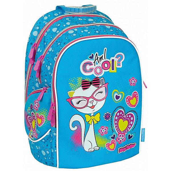 Рюкзак Cosmo lV, KittyРюкзаки<br>Характеристики:<br><br>• школьный рюкзак для учеников 5-7 класса;<br>• эргономичная спинка с мягкими подушечками;<br>• спинка усилена рамкой из алюминия;<br>• регулируемые по длине и высоте лямки;<br>• ручка для подвешивания ранца;<br>• светоотражающие элементы;<br>• материал: 600D полиэстер, дно из PVC, пластиковые ножки;<br>• размер ранца: 37х28х19 см;<br>• вес: 830 г.<br><br>Функциональный рюкзак для детей в возрасте 11-13 лет имеет два внутренних отделения на молнии, органайзер, потайной кармашек на молнии, передний карман на молнии и два боковых кармана на молнии. Усиленная дополнительно рамкой из алюминия спинка ранца повторяет естественный изгиб позвоночника, равномерно распределяет нагрузку на плечи и вдоль спины. Имеются пластиковые ножки для устойчивости рюкзака. <br><br>Рюкзак Cosmo lV, Kitty можно купить в нашем интернет-магазине.<br>Ширина мм: 280; Глубина мм: 190; Высота мм: 370; Вес г: 830; Цвет: синий; Возраст от месяцев: 72; Возраст до месяцев: 2147483647; Пол: Женский; Возраст: Детский; SKU: 8316022;
