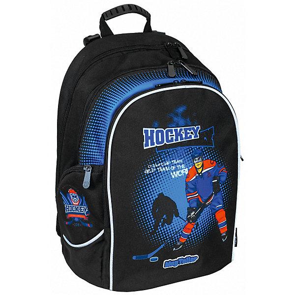 Рюкзак Cosmo lV, HockeyРюкзаки<br>Характеристики:<br><br>• школьный рюкзак для учеников 5-7 класса;<br>• эргономичная спинка с мягкими подушечками;<br>• спинка усилена рамкой из алюминия;<br>• регулируемые по длине и высоте лямки;<br>• ручка для подвешивания ранца;<br>• светоотражающие элементы;<br>• материал: 600D полиэстер, дно из PVC, пластиковые ножки;<br>• размер ранца: 37х28х19 см;<br>• вес: 830 г.<br><br>Функциональный рюкзак для детей в возрасте 11-13 лет имеет два внутренних отделения на молнии, органайзер, потайной кармашек на молнии, передний карман на молнии и два боковых кармана на молнии. Усиленная дополнительно рамкой из алюминия спинка ранца повторяет естественный изгиб позвоночника, равномерно распределяет нагрузку на плечи и вдоль спины. Имеются пластиковые ножки для устойчивости рюкзака. <br><br>Рюкзак Cosmo lV,  Hockey можно купить в нашем интернет-магазине.<br>Ширина мм: 280; Глубина мм: 190; Высота мм: 370; Вес г: 830; Цвет: черный; Возраст от месяцев: 72; Возраст до месяцев: 2147483647; Пол: Мужской; Возраст: Детский; SKU: 8316078;