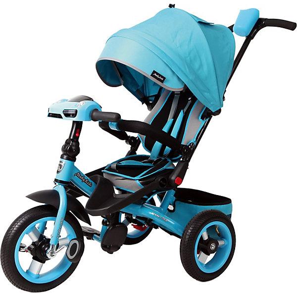 Велосипед Moby Kids3кол. с разворотным сиденьем Leader 360° 12x10 AIR Car, бирюз.Велосипеды и аксессуары<br>Трёхколёсный велосипед с усовершенствованным дизайном Moby Kids Leader 360° 12x10 AIR Car. Эта модель разработана для тех, кто не терпит компромиссов! Максимум стиля, комфорта, функциональности - и всё это в одном велосипеде. В модели предусмотрена кнопка переключения «холостого» хода. При включении этой кнопки ребёнок сможет крутить педали вхолостую, в то время как колёса будут оставаться без движения. Это поможет малышу потренироваться перед первой серьёзной поездкой и освоить новые для себя движения, не перегружая ноги. Функция разворота сиденья на 360 градусов позволяет ребёнку сидеть во время прогулки как лицом по направлению движения, так и лицом к родителям. Встроенная светомузыкальная панель «машинка» станет приятным дополнением к поездке. При нажатии на кнопочки панели, ребёнок будет слышать реалистичные автомобильные звуки, сопровождающиеся завораживающим свечением фар. <br> Характеристики: <br> · Велосипед оснащён телескопической ручкой-толкателем с подставкой для бутылочки, а также складным рулём, педалями, съёмными подставками для ног и складными подножками; <br> · Длина ручки регулируется по росту; <br> · Сиденье можно разворачивать на 360 градусов, а также двигать его «вперёд» и «назад» нажатием кнопки (3 положения); <br> · Мягкий вкладыш и высокая спинка с бортиками обеспечивают комфортную посадку ребёнка; <br> · Увеличенный складной тент колясочного типа имеет съёмный козырёк на молнии; <br> · Регулировка угла наклона тента осуществляется нажатием кнопки; <br> · Уровень наклона спинки можно зафиксировать в нескольких положениях; <br> · В целях безопасности предусмотрен ножной стояночный тормоз, который позволяет родителям застопорить колеса на время остановки; <br> · Позади сиденья расположена тканевая багажная корзина на металлическом каркасе; <br> · Модель оборудована трёхточечным ремнём безопасности и разъёмной ограничительной дугой с мягки