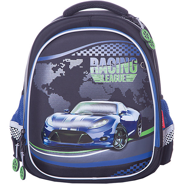 Рюкзак школьный Grizzly, чёрный/синийРюкзаки<br>Характеристики:<br><br>• формованный школьный рюкзак;<br>• жесткая анатомическая спинка;<br>• укрепленные лямки;<br>• лямки регулируются по длине и высоте; <br>• дополнительная ручка для переноски рюкзака в руках;<br>• замок: молния;<br>• жесткое дно;<br>• вмещает формат А4;<br>• светоотражающие элементы;<br>• материал: полиэстер;<br>• размер рюкзака: 28х36х20 см;<br>• вес: 990 гр.<br><br>Формованный школьный рюкзак Grizzly хорошо держит форму, имеет два отделения, в основном из которых находится еще три отдела.Внутренний отдел-органайзер: карманы для ручек, телефона, мелких предметов и держателем для ключей. Жесткая спинка разработана с учетом анатомии ребенка, позвоночник защищен специально сконструированной спинкой.<br><br>Grizzly Рюкзак каркасный школьный можно купить в нашем интернет-магазине.<br>Ширина мм: 280; Глубина мм: 200; Высота мм: 360; Вес г: 960; Цвет: синий; Возраст от месяцев: 72; Возраст до месяцев: 108; Пол: Мужской; Возраст: Детский; SKU: 8317242;