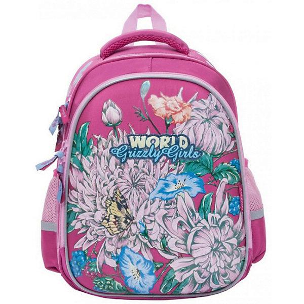 Рюкзак школьный Grizzly, фуксияРюкзаки<br>Характеристики:<br><br>• формованный школьный рюкзак;<br>• жесткая анатомическая спинка;<br>• укрепленные лямки;<br>• лямки регулируются по длине и высоте; <br>• дополнительная ручка для переноски рюкзака в руках;<br>• замок: молния;<br>• жесткое дно;<br>• вмещает формат А4;<br>• светоотражающие элементы;<br>• материал: полиэстер;<br>• размер рюкзака: 28х36х20 см;<br>• вес: 990 гр.<br><br>Формованный школьный рюкзак Grizzly хорошо держит форму, имеет два отделения, в основном из которых находится еще три отдела.Внутренний отдел-органайзер: карманы для ручек, телефона, мелких предметов и держателем для ключей. Жесткая спинка разработана с учетом анатомии ребенка, позвоночник защищен специально сконструированной спинкой.<br><br>Grizzly Рюкзак школьный для девочки можно купить в нашем интернет-магазине.<br>Ширина мм: 280; Глубина мм: 200; Высота мм: 360; Вес г: 1210; Цвет: розовый; Возраст от месяцев: 72; Возраст до месяцев: 108; Пол: Женский; Возраст: Детский; SKU: 8317274;