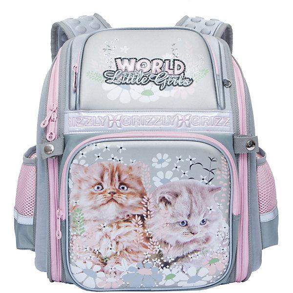 Рюкзак школьный Grizzly, серыйРюкзаки<br>Характеристики:<br><br>• формованный школьный рюкзак;<br>• жесткая анатомическая спинка;<br>• укрепленные лямки;<br>• лямки регулируются по длине и высоте; <br>• дополнительная ручка для переноски рюкзака в руках;<br>• замок: молния;<br>• жесткое дно;<br>• вмещает формат А4;<br>• светоотражающие элементы;<br>• материал: полиэстер;<br>• размер рюкзака: 28х36х20 см;<br>• вес: 990 гр.<br><br>Формованный школьный рюкзак Grizzly хорошо держит форму, имеет два отделения, в основном из которых находится еще три отдела.Внутренний отдел-органайзер: карманы для ручек, телефона, мелких предметов и держателем для ключей. Жесткая спинка разработана с учетом анатомии ребенка, позвоночник защищен специально сконструированной спинкой.<br><br>Grizzly Рюкзак каркасный школьный можно купить в нашем интернет-магазине.<br>Ширина мм: 300; Глубина мм: 70; Высота мм: 370; Вес г: 825; Цвет: серый; Возраст от месяцев: 72; Возраст до месяцев: 108; Пол: Женский; Возраст: Детский; SKU: 8317296;